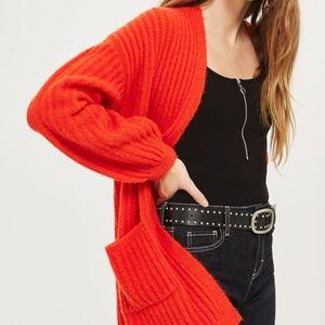 Topshop Orange Chunky Open Front Cardigan SZ Med